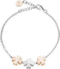 bracciale quadrifogli in acciaio bicolore e cristalli per donna