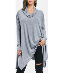 handkerchief drop shoulder cowl neck top