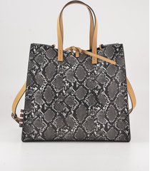 manila grace designer handbags, python embossed eco-leather tote bag w/yellow top handles and strap