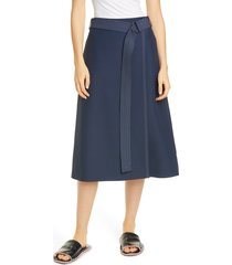 women's partow dane belted faux wrap midi skirt, size 6 - blue