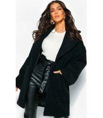 luxe getextuurde nepwollen jas, zwart