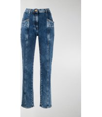 versace panelled tapered leg jeans