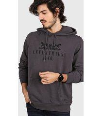 buzo gris levi's graphic po hoodie two horses - coal