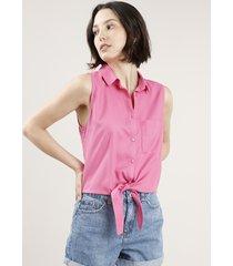 camisa feminina com bolso e nó sem manga rosa