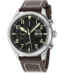 gevril men's vaughn pilot swiss automatic chronograph exhibition-back stainless steel & leather strap watch