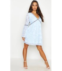 burnout floral trim smock dress, washed blue