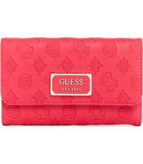 billetera logo love slg multi clutch fucsia guess
