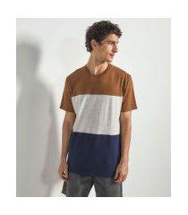 camiseta manga curta com recortes   blue steel   marrom   p