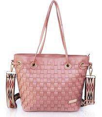 bolso de mano efecto tejido rosado