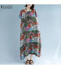 zanzea de las mujeres de manga corta de la raya de la impresión floral del vestido largo maxi asimétrica vestido de tirantes más del tamaño -verde