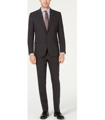 kenneth cole reaction men's slim-fit ready flex stretch charcoal glen plaid suit