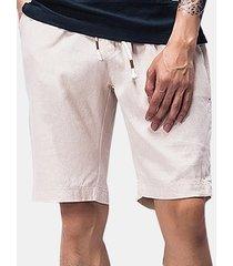 uomo shorts estivi in cotone-lino con coulisse con elastico in vita