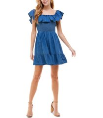 rosie harlow juniors' cotton chambray fit & flare dress
