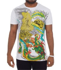 heads or tails 3d graphic printed flying eagle colorful rhinestone studded t-shirt