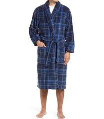men's nordstrom plaid fleece robe, size x-large/xx-large - blue