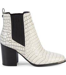 taline croc-embossed leather booties