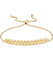 effy oro by effy gold-bead bar-style bolo bracelet in 14k gold