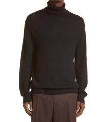 men's jil sander men's wool turtleneck sweater, size 40 us - black