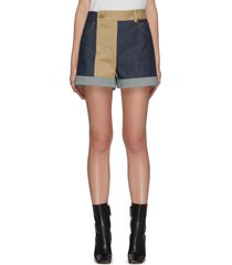 patchwork denim and trouser shorts