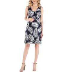24seven comfort apparel botanical print v neck maternity dress with pockets