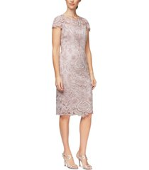 alex evenings petite embroidered sheath dress