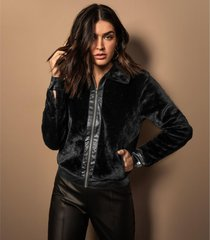 jaqueta feminina pelo sintético endless preto - tricae