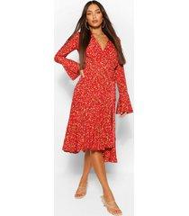 tall bloemenprint midi wikkel jurk, rood