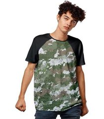 camiseta camuflada raglan masculina - masculino