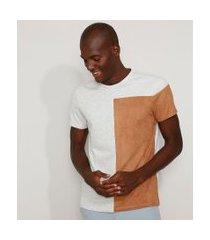 camiseta masculina slim com recorte em suede manga curta gola careca cinza mescla claro