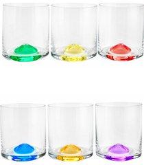 conjunto rojemac 6 copos de cristal ecolã³gico para whisky set-bar favorit wave colorido - multicolorido - dafiti