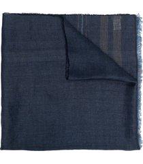 brunello cucinelli lightweight frayed-edge scarf - blue