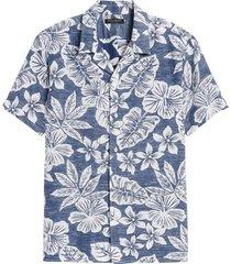 camisa lino print multicolor banana republic
