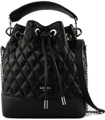 lancel black quilted leather bucket bag