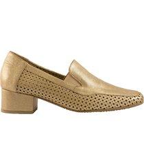 zapato tacón resortes laterales dorado san basilio