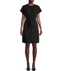 velvet women's belted front twist dress - black - size m