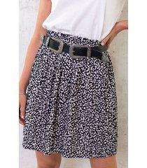 cheetah plisse rok zwart