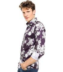 camisa violeta de lobos flowers