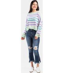 faye split seam destructed cropped jeans - dark