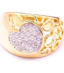 anel boca santa coração mágico - ouro amarelo
