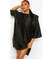 plus satijnen loshangende jurk met schouderpads en driekwarts mouwen, black