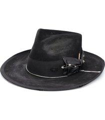 nick fouquet distressed bow detail hat - black