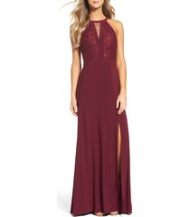 women's morgan & co. lace & jersey a-line gown, size 9/10 - red