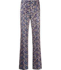 pt01 peacock feather print trousers - blue