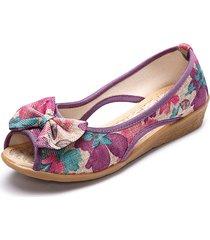 scarpe basse con tacco a punta aperta in lino con stampa floreale bowknot