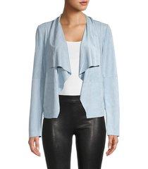 bagatelle women's drape open-front jacket - cloud blue - size xl