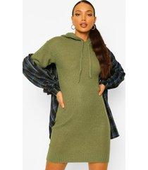 tall gebreide met capuchon sweatshirt jurk, olive