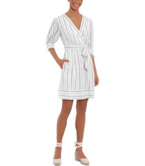 london times petite striped fit & flare dress