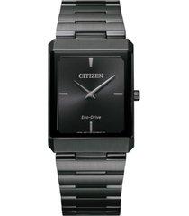 citizen unisex eco-drive stiletto gray stainless steel bracelet watch 28x38mm