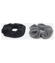 kit 2 scrunchies plissado com fio metálico | accessories | preto | u