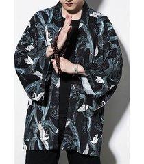 chaqueta kimono japonés floral para hombres abrigo suelto cárdigan suelto étnico